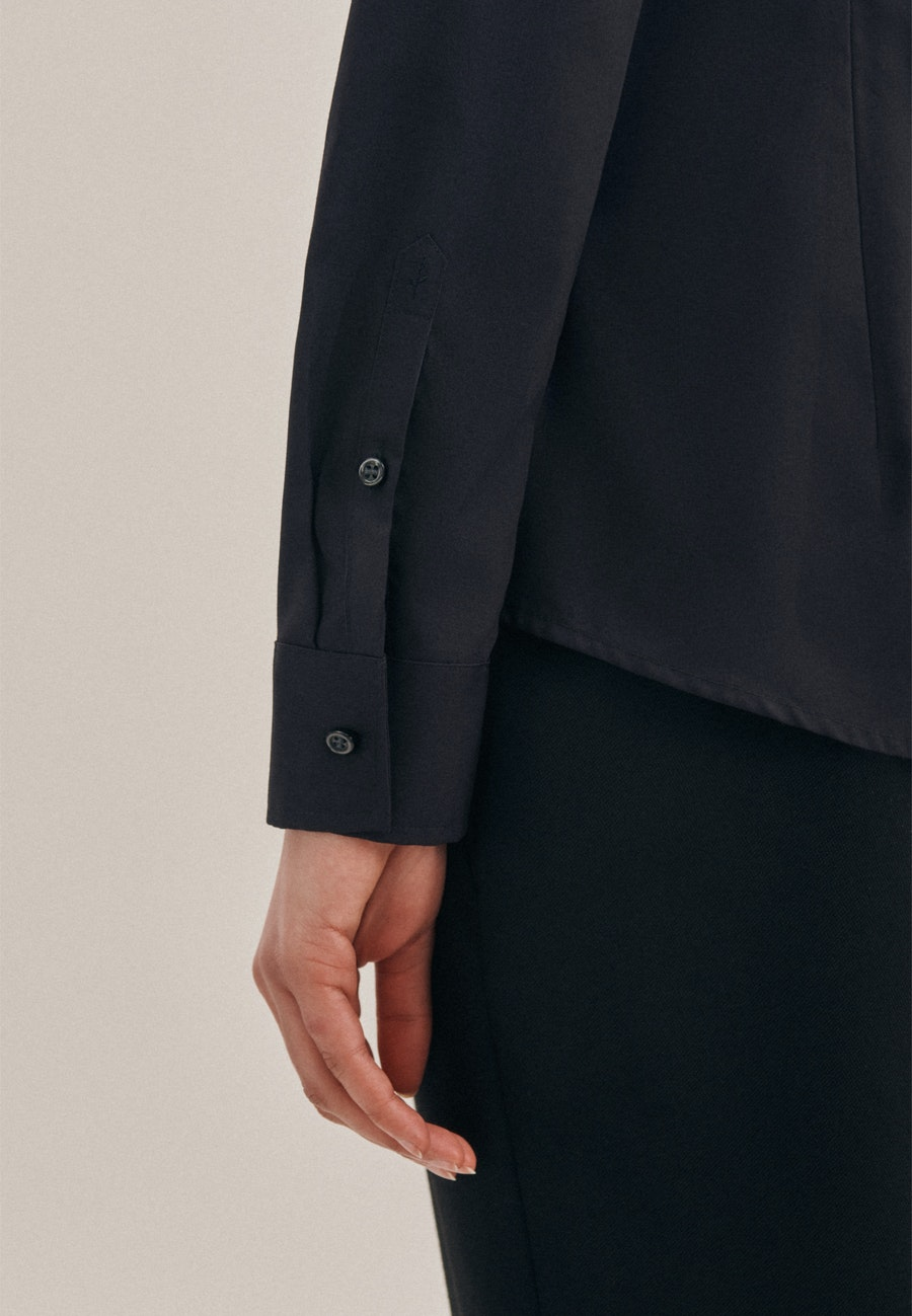 Non-iron Popeline Shirt Blouse made of 100% Cotton in Black    Seidensticker Onlineshop