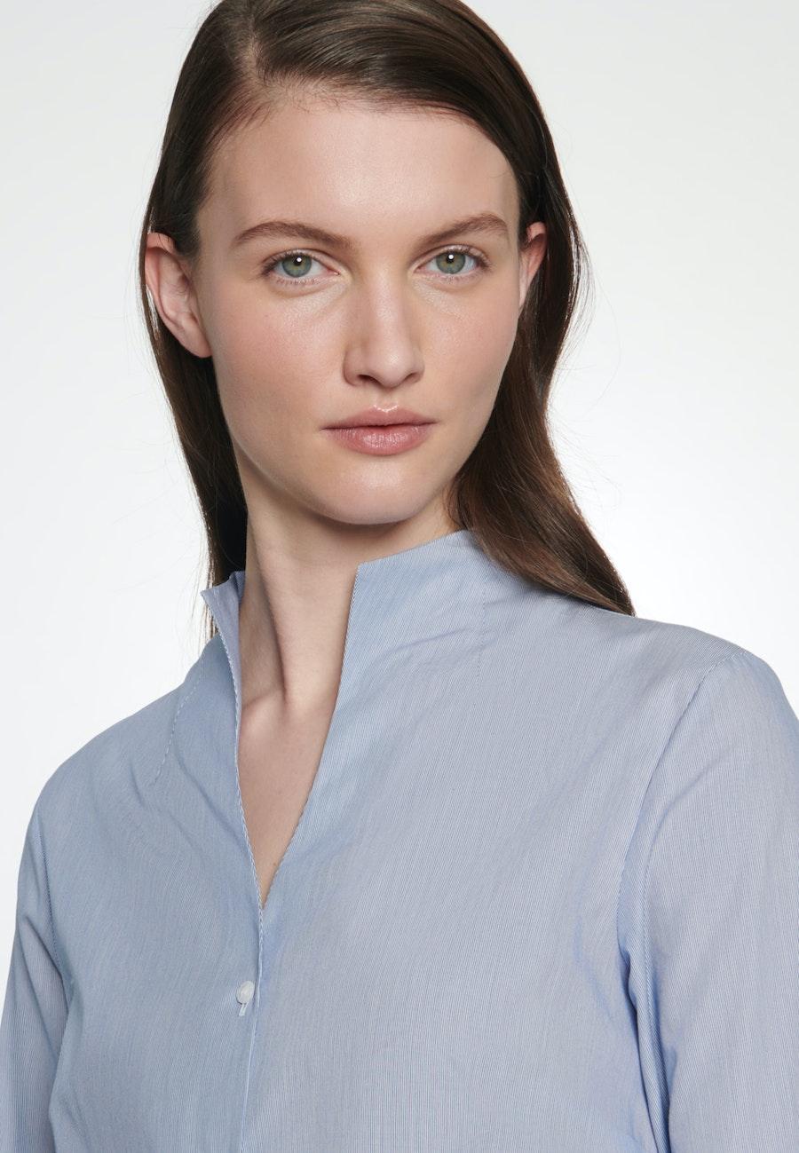 Popeline Chalice Blouse made of 100% Cotton in Medium blue    Seidensticker Onlineshop