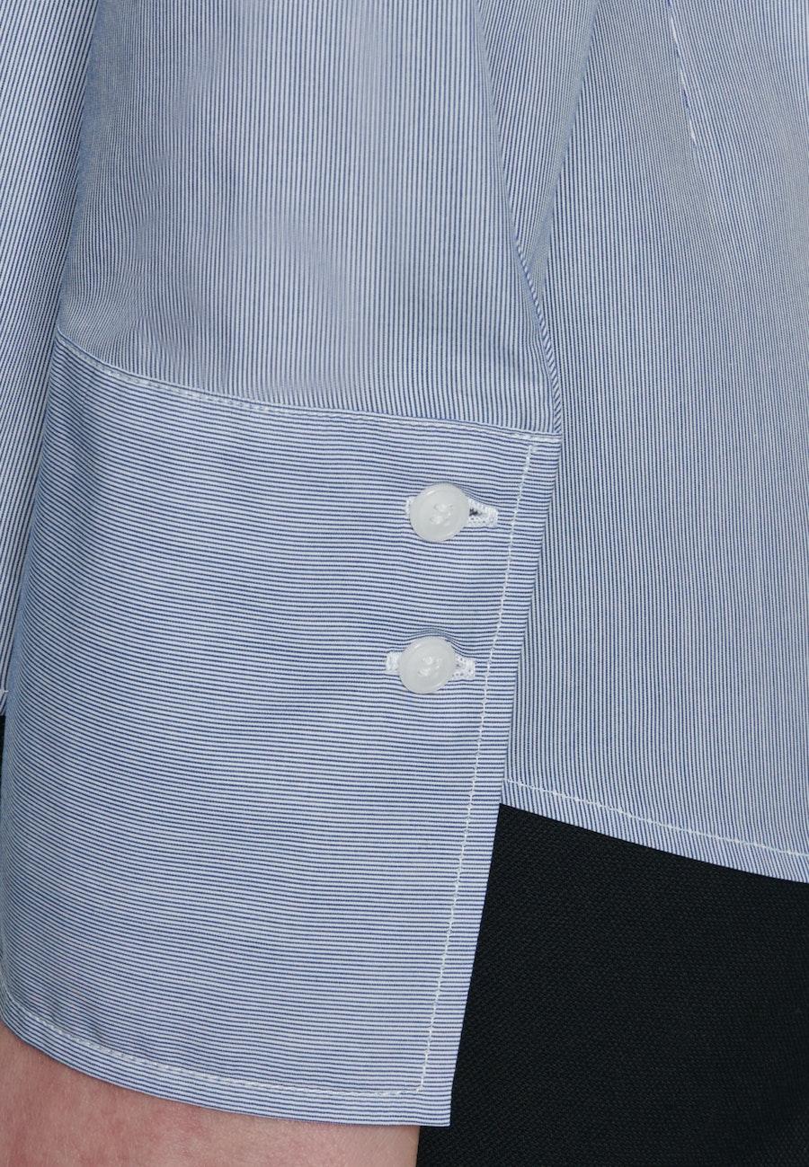 Popeline Kelchkragenbluse aus 100% Baumwolle in Mittelblau    Seidensticker Onlineshop