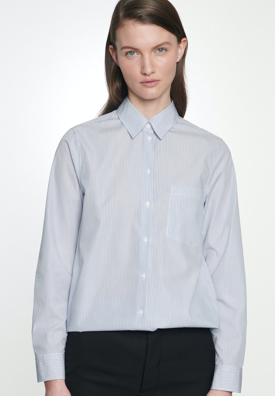 Popeline Shirt Blouse made of 100% Cotton in Medium blue |  Seidensticker Onlineshop
