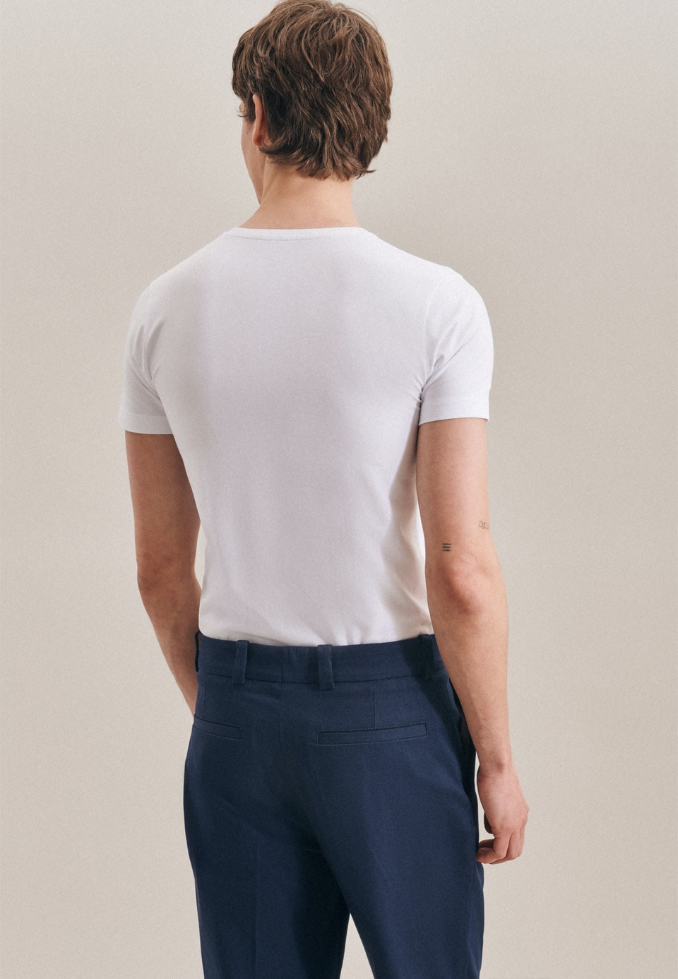 Rundhals T-Shirt aus Baumwollmischung in Weiß |  Seidensticker Onlineshop