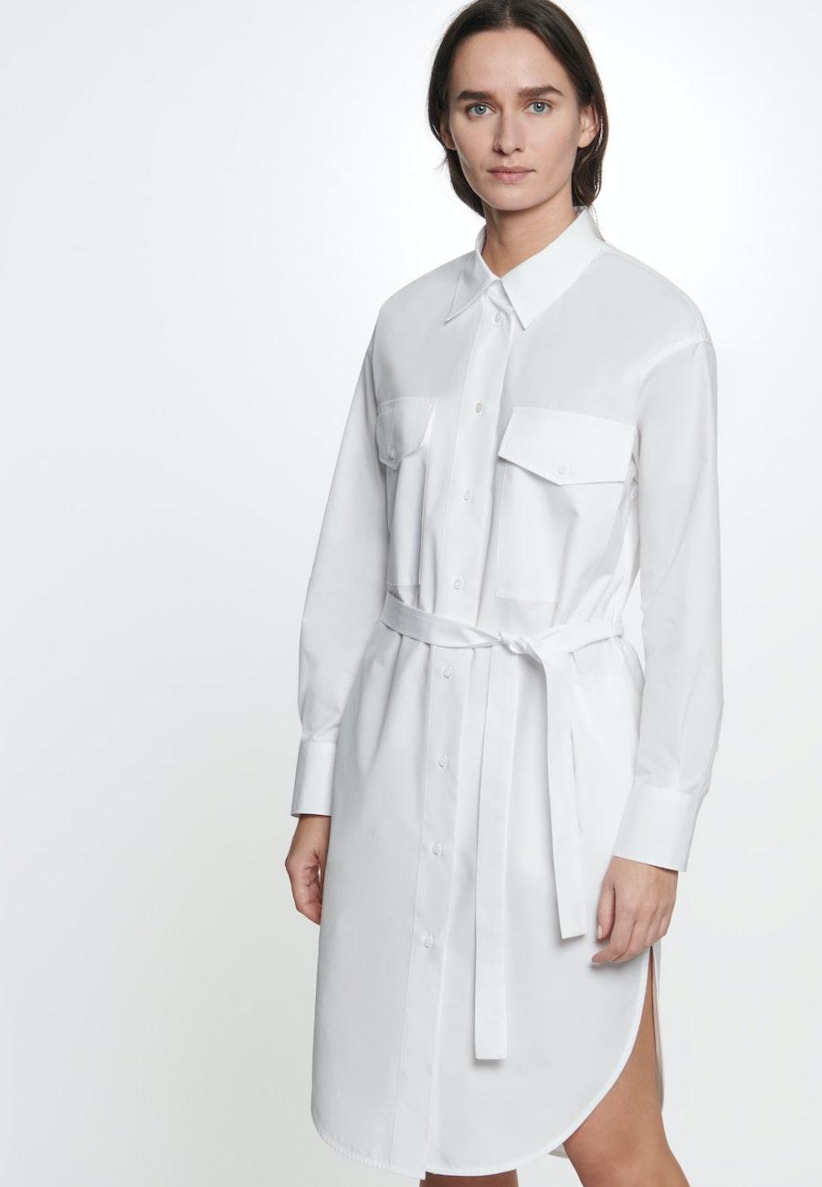 Popeline Midi Dress made of 100% Cotton in White |  Seidensticker Onlineshop