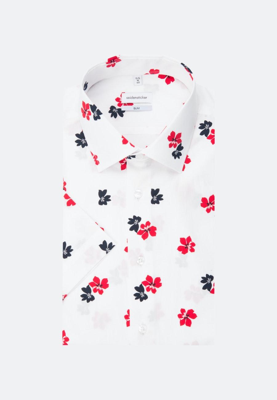 Bügelleichtes Popeline Kurzarm Business Hemd in Slim mit Kentkragen in Weiß    Seidensticker Onlineshop