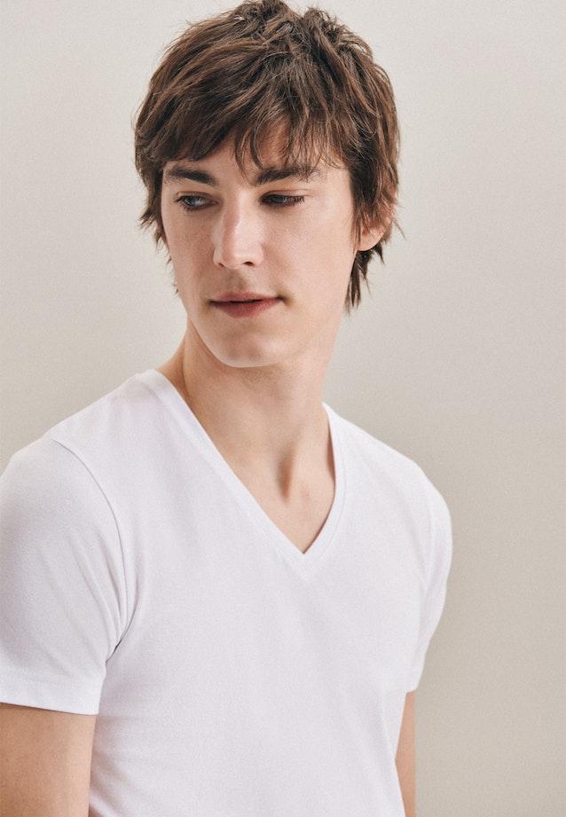 V-Neck T-Shirt made of cotton blend in White |  Seidensticker Onlineshop