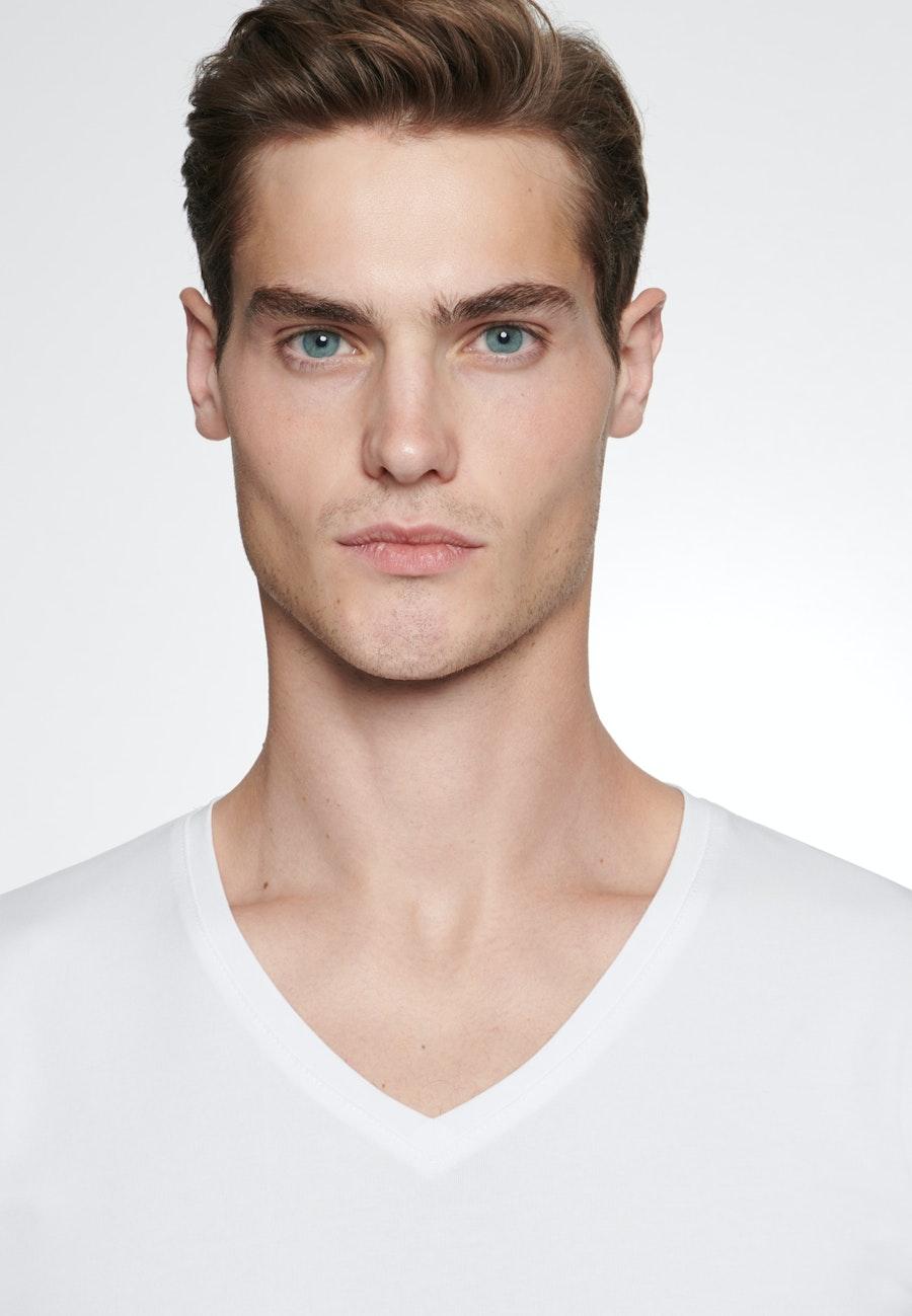 V-Neck T-Shirt aus Baumwollmischung in Weiß |  Seidensticker Onlineshop