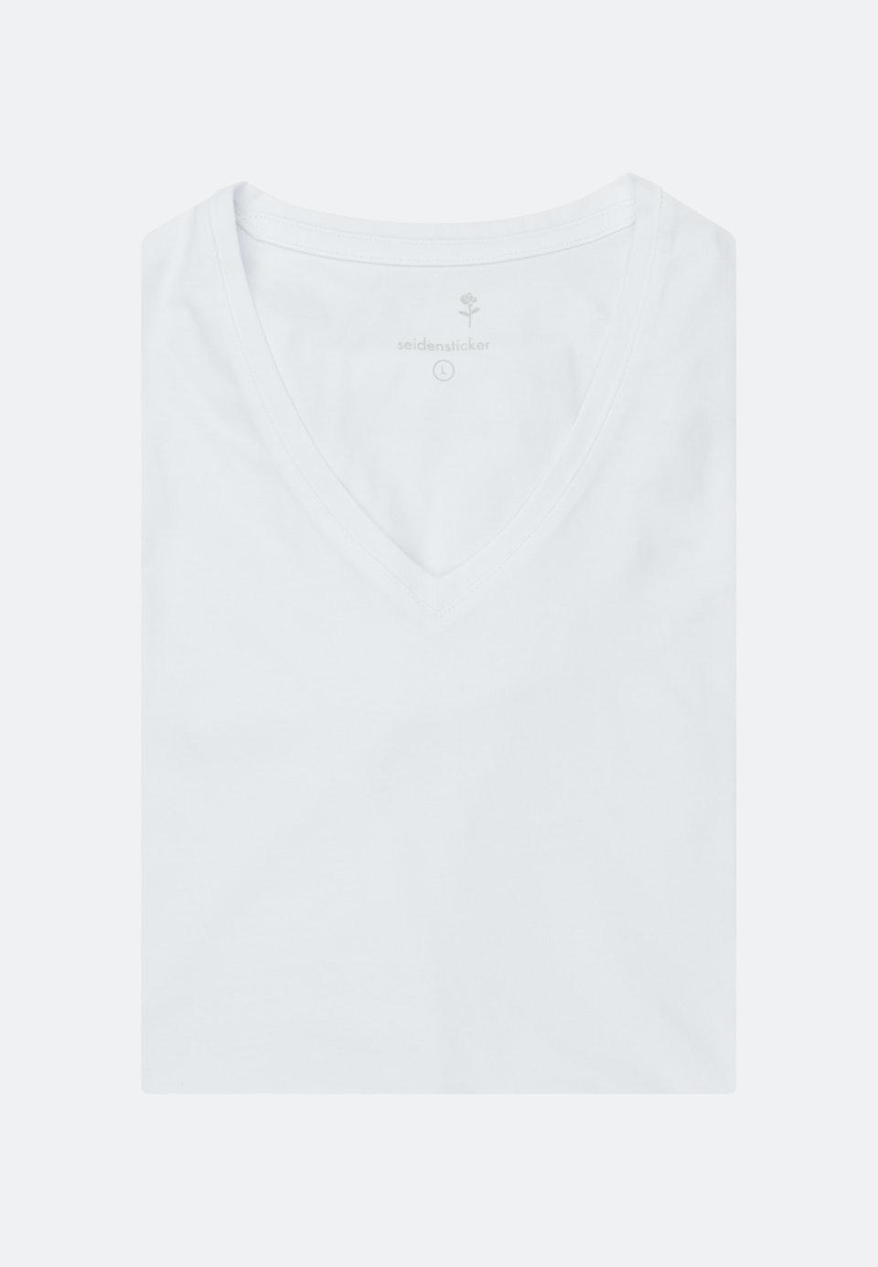 V-Neck T-Shirt aus Baumwollmischung in Weiß    Seidensticker Onlineshop