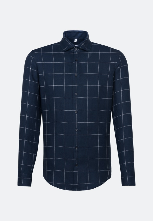 Easy-iron Leinen Business Shirt in Slim with Kent-Collar in Dark blue    Seidensticker Onlineshop