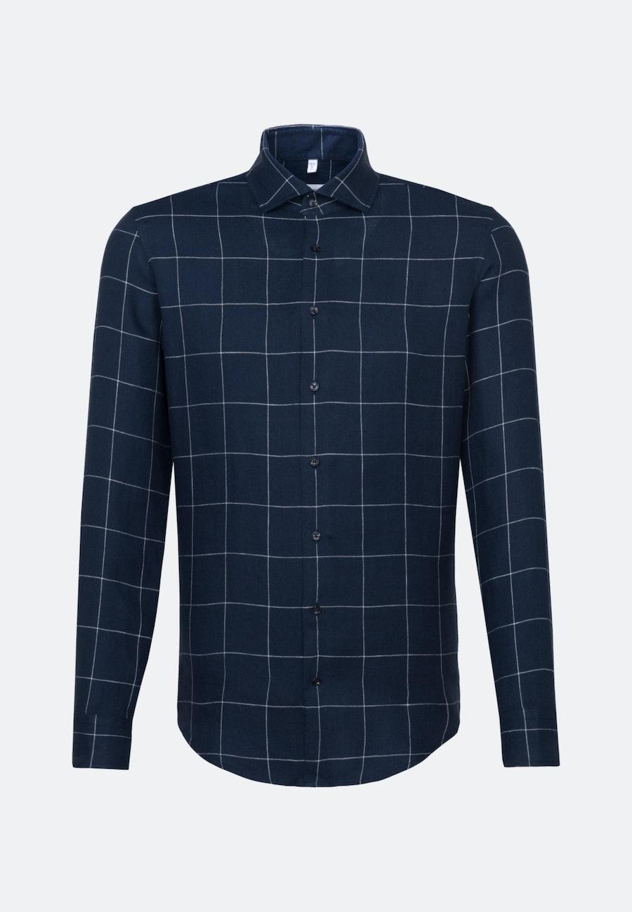Bügelleichtes Leinen Business Hemd in Slim mit Kentkragen in Dunkelblau    Seidensticker Onlineshop