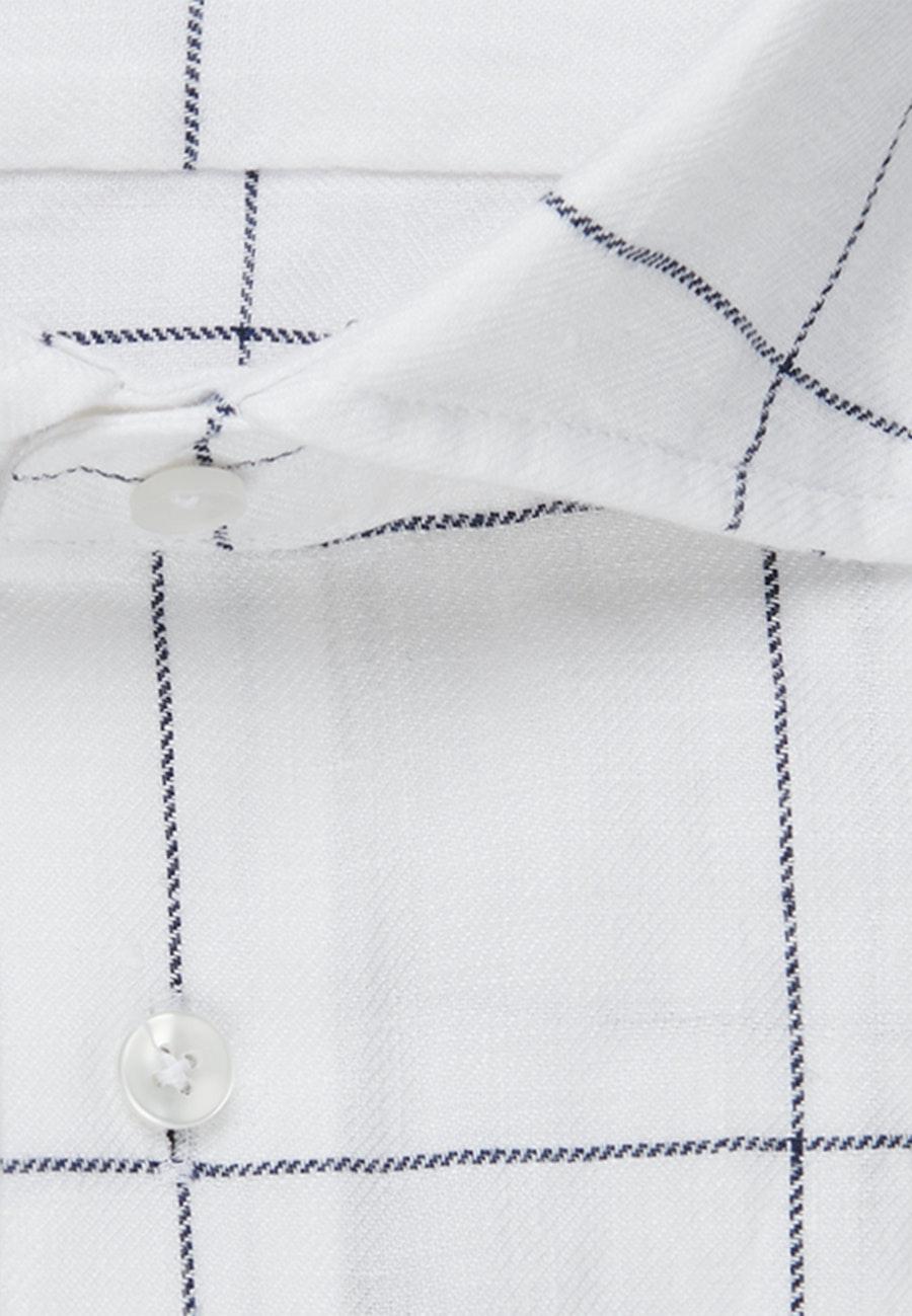Easy-iron Linen Business Shirt in Slim with Kent-Collar in White    Seidensticker Onlineshop