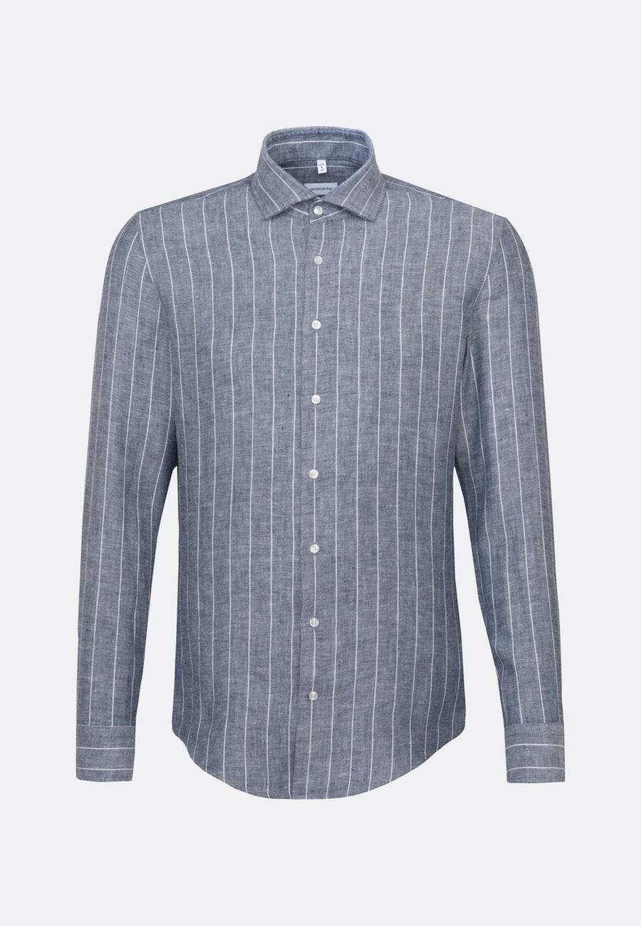 Easy-iron Linen Business Shirt in Slim with Kent-Collar in Grey |  Seidensticker Onlineshop