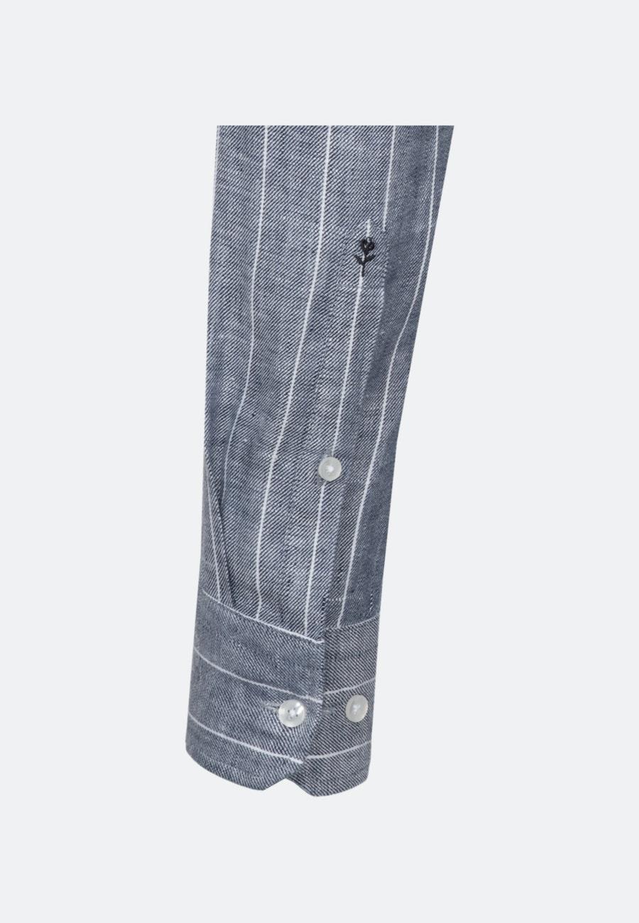 Bügelleichtes Leinen Business Hemd in Slim mit Kentkragen in Grau |  Seidensticker Onlineshop