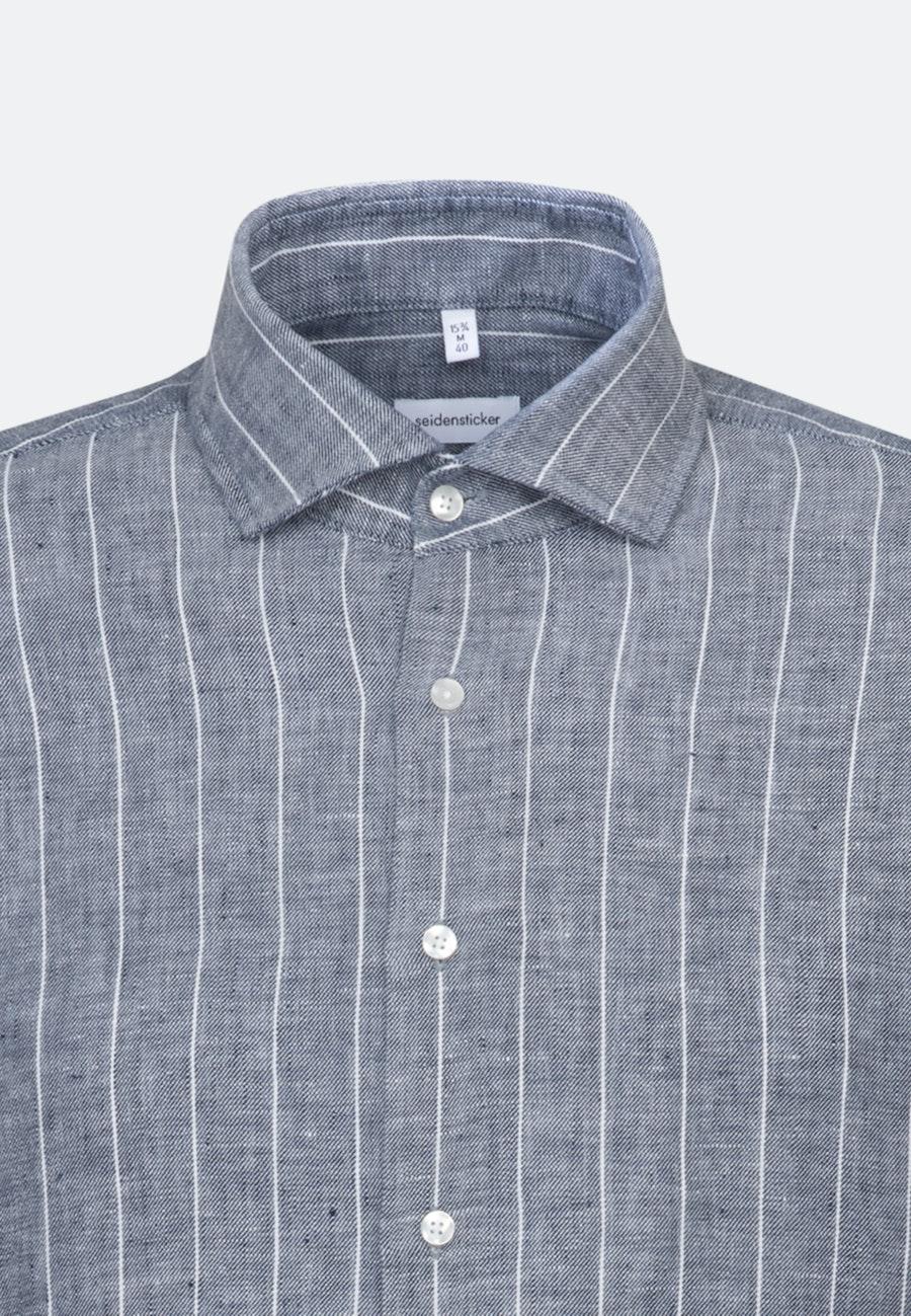 Easy-iron Leinen Business Shirt in Slim with Kent-Collar in Grey    Seidensticker Onlineshop