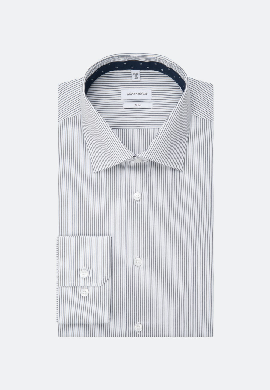 Bügelfreies Popeline Business Hemd in Slim mit Kentkragen in Dunkelblau |  Seidensticker Onlineshop