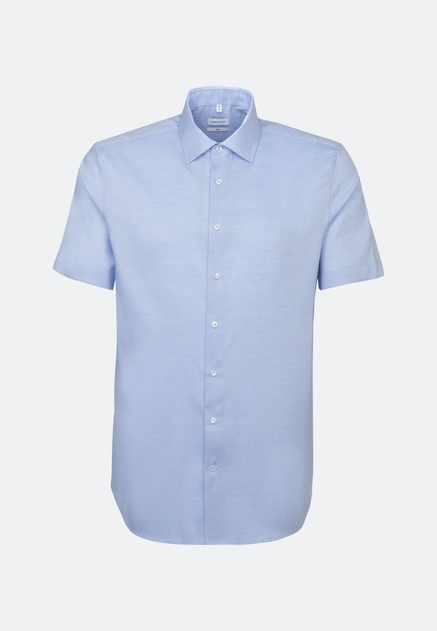 Non-iron Struktur Short sleeve Business Shirt in Slim with Kent-Collar in Light blue |  Seidensticker Onlineshop