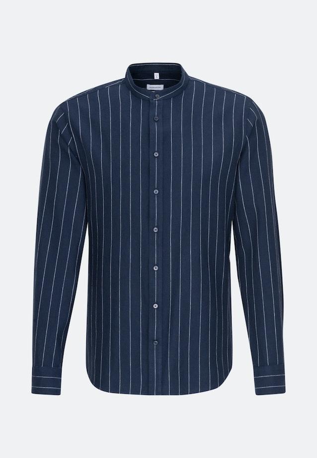 Easy-iron Twill Business Shirt in Slim with Stand-Up Collar in Dark blue    Seidensticker Onlineshop