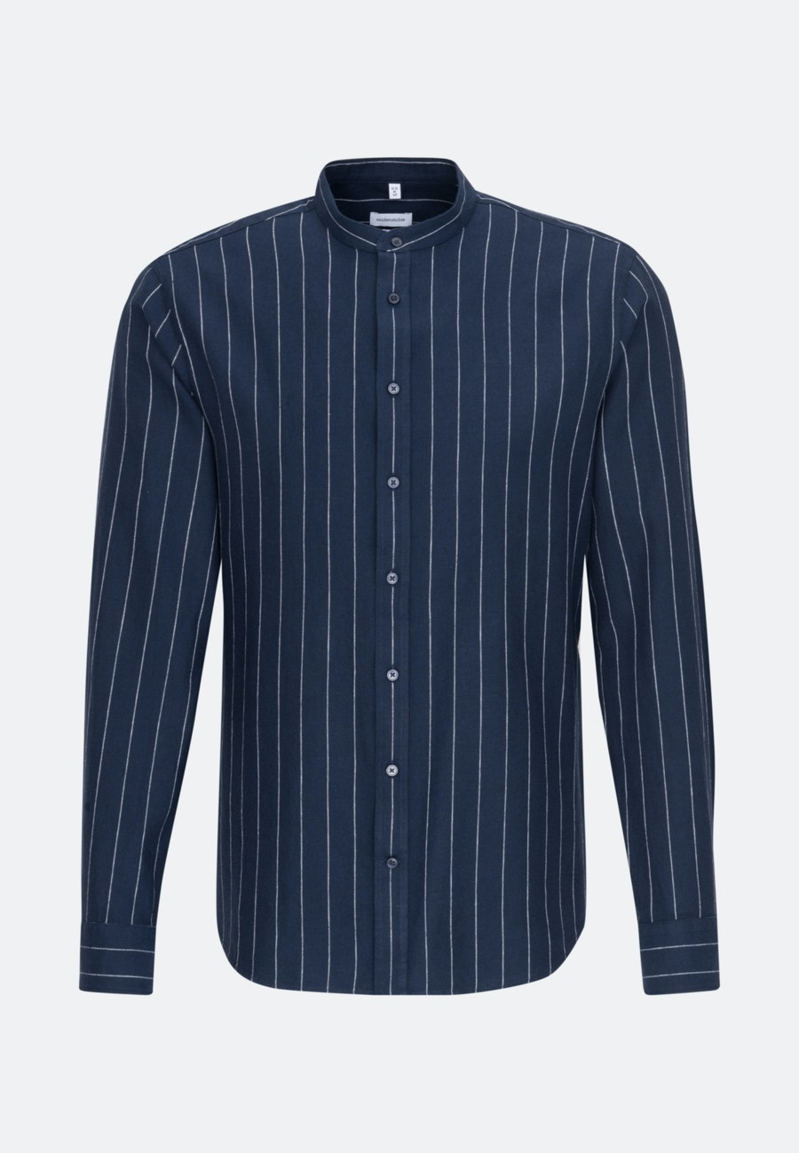Easy-iron Twill Business Shirt in Slim with Stand-Up Collar in Dark blue |  Seidensticker Onlineshop