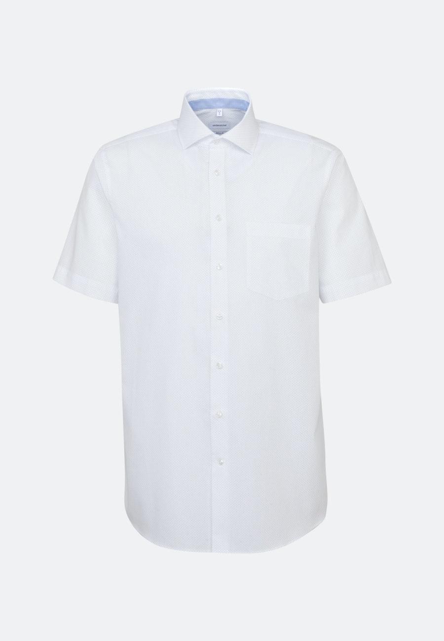 Bügelleichtes Popeline Kurzarm Business Hemd in Regular mit Kentkragen in Weiß    Seidensticker Onlineshop