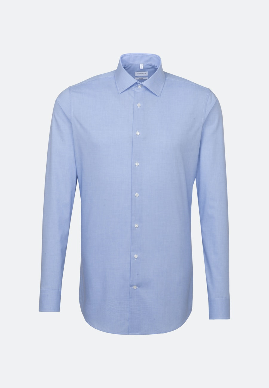 Non-iron Pepita/tooth-peg check Business Shirt in X-Slim with Kent-Collar and extra long sleeve in Light blue |  Seidensticker Onlineshop