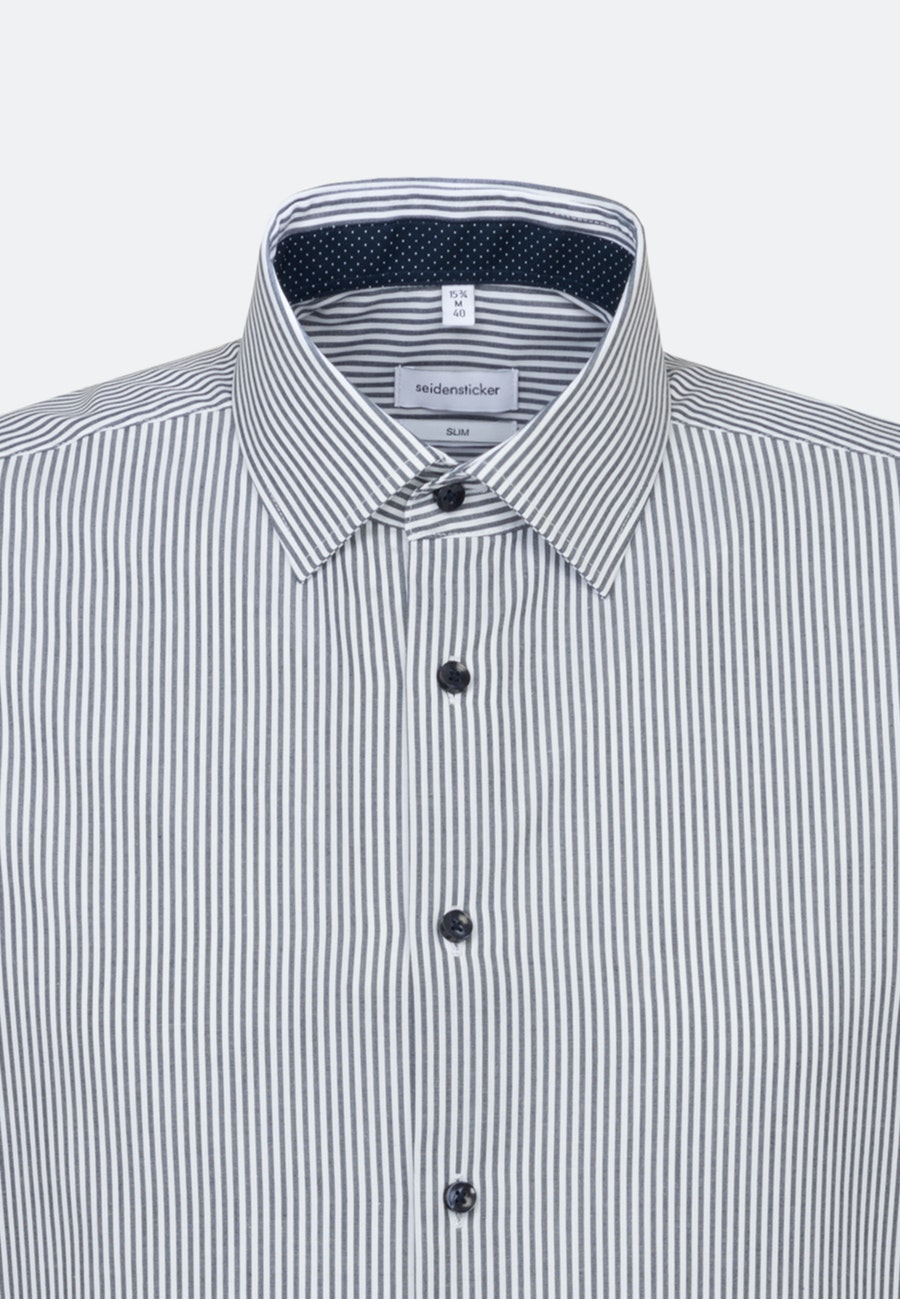 Non-iron Popeline Short sleeve Business Shirt in Slim with Kent-Collar in Dark blue |  Seidensticker Onlineshop