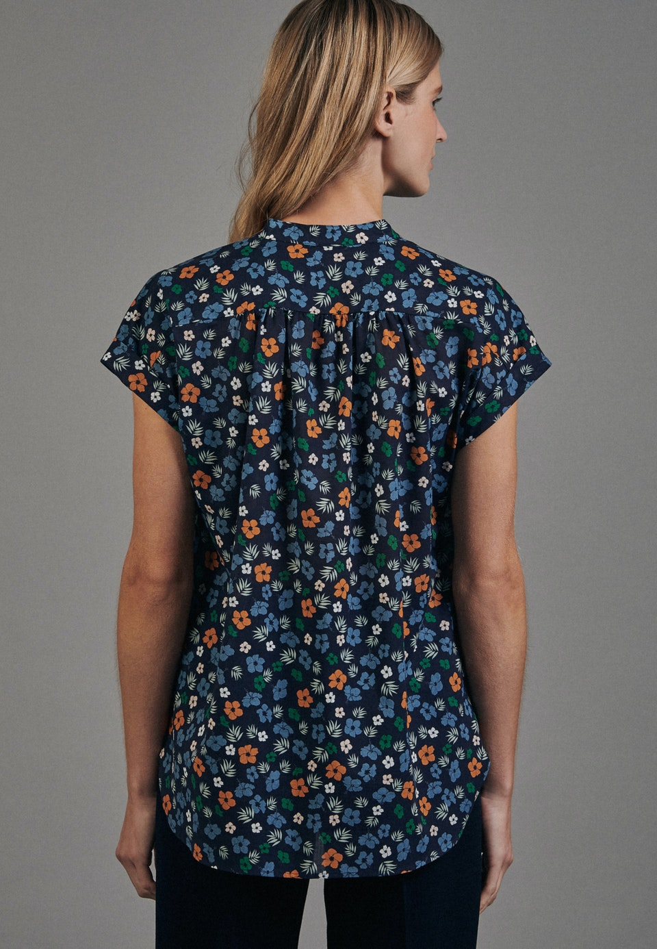 Sleeveless Voile Slip Over Blouse made of 100% Cotton in Dark blue |  Seidensticker Onlineshop