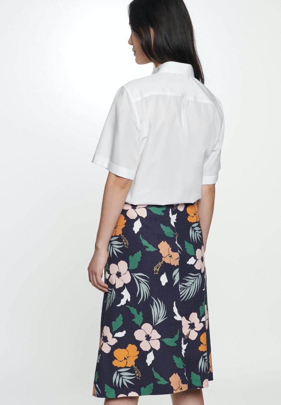 Structure Midi Skirt made of cotton blend in Dark blue |  Seidensticker Onlineshop