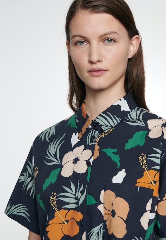 Kurzarm Voile Hemdbluse aus Baumwollmischung in Dunkelblau |  Seidensticker Onlineshop