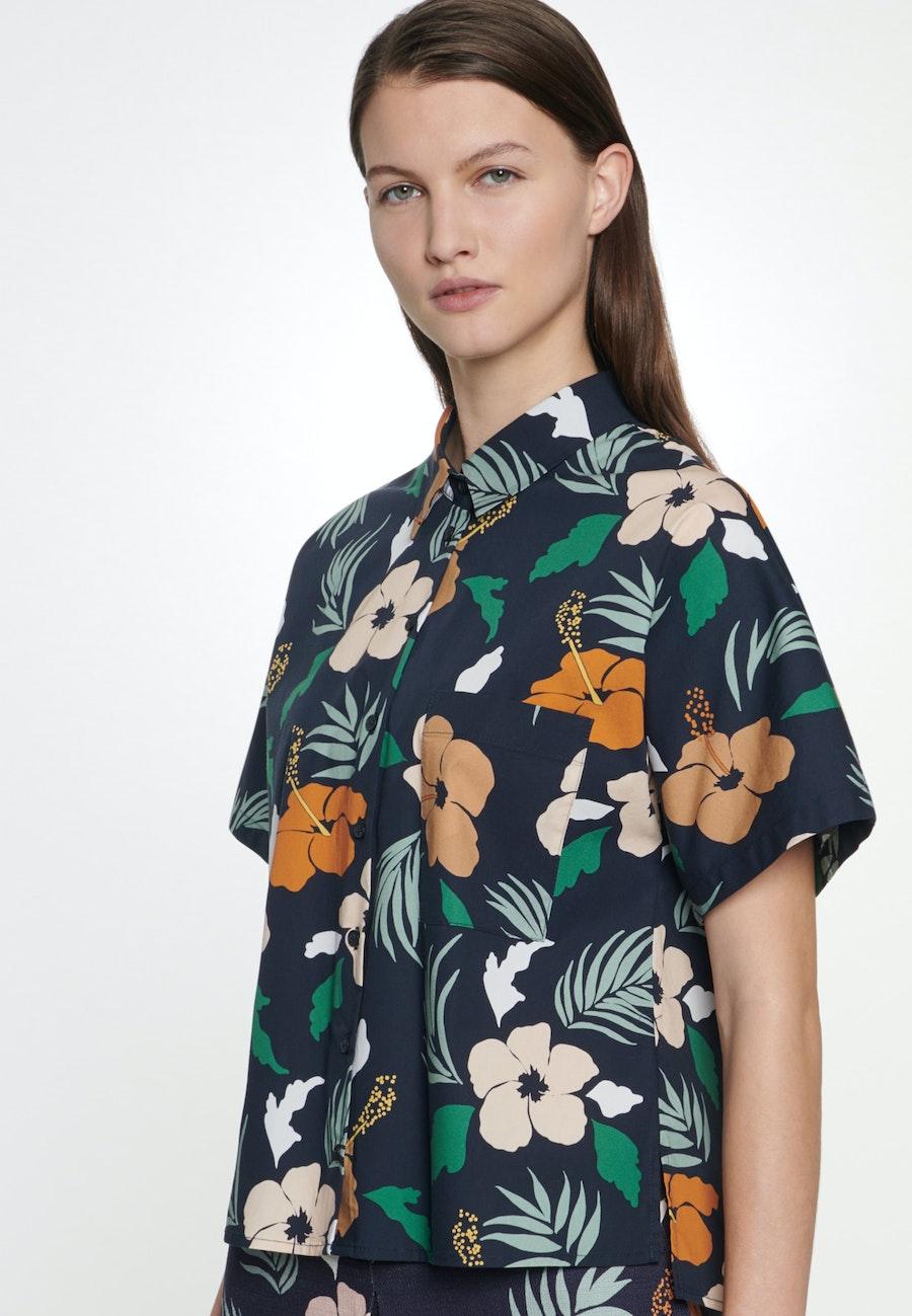 Kurzarm Voile Hemdbluse aus Baumwollmischung in Dunkelblau    Seidensticker Onlineshop