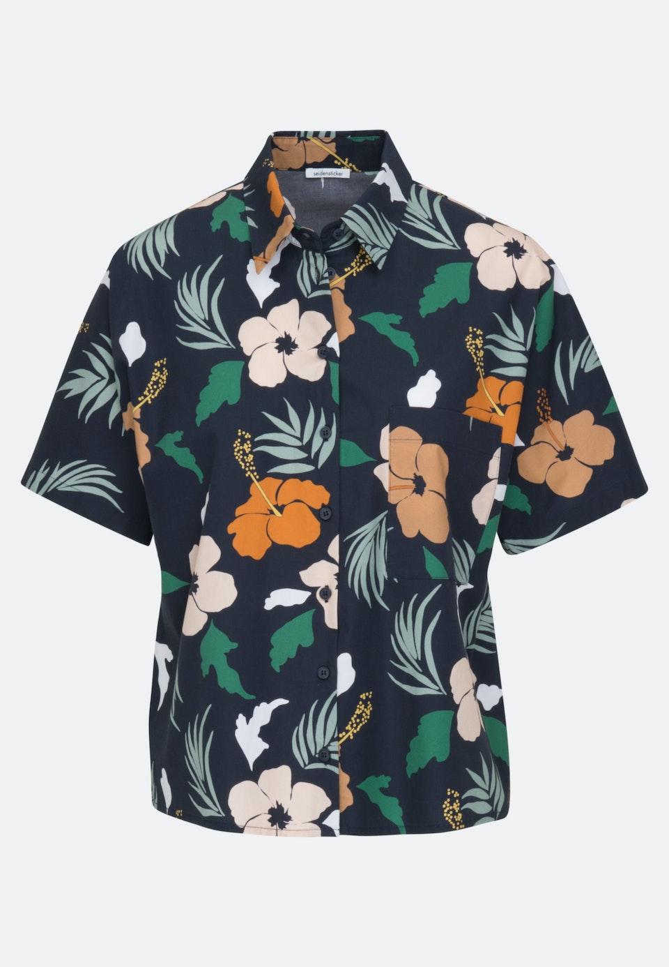Short sleeve Voile Shirt Blouse made of cotton blend in Dark blue |  Seidensticker Onlineshop