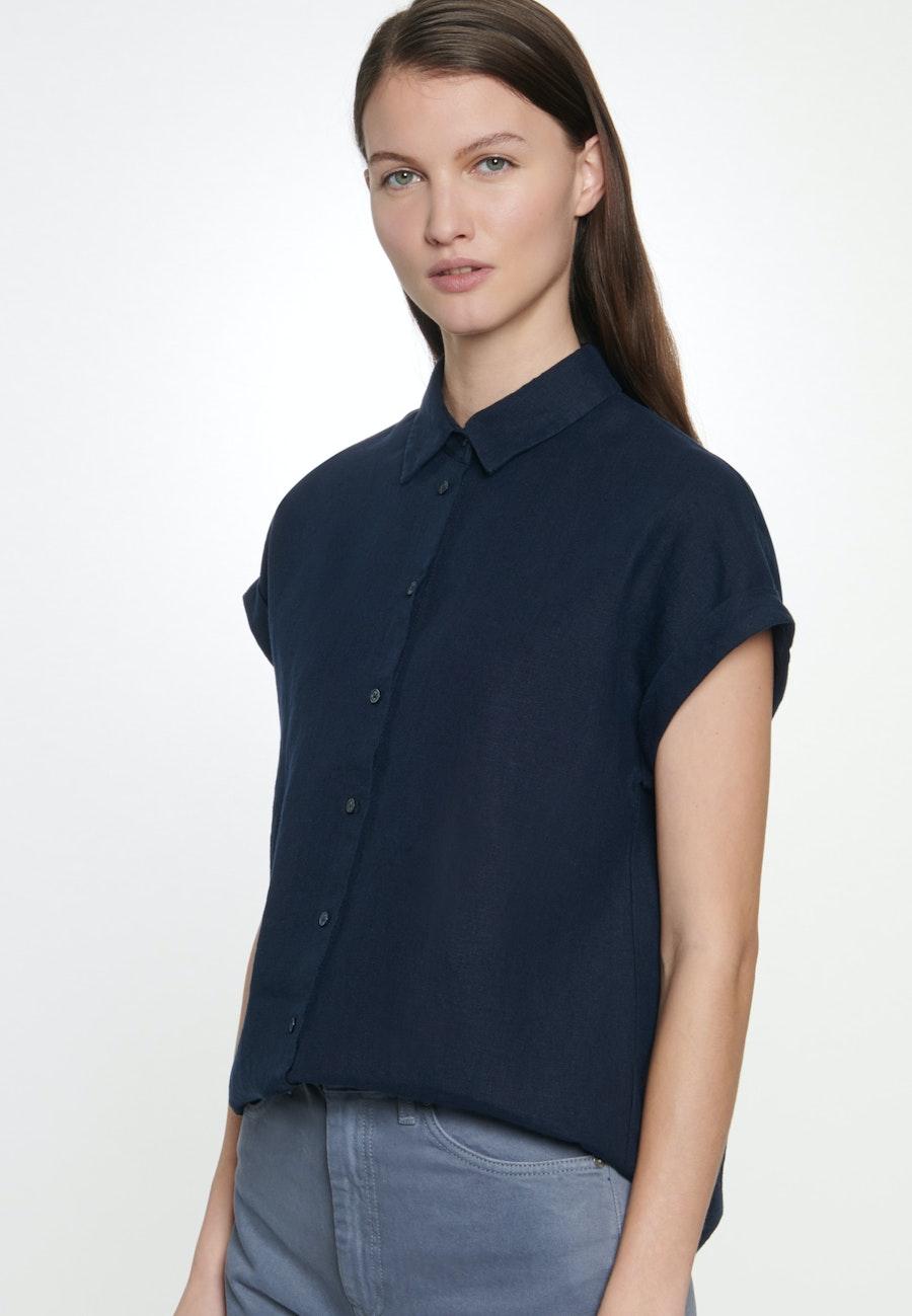 Sleeveless Linen Shirt Blouse made of 100% Linen in Dark blue |  Seidensticker Onlineshop