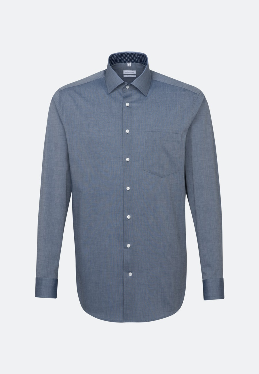 Bügelfreies Fil a fil Business Hemd in Regular mit Kentkragen in Dunkelblau |  Seidensticker Onlineshop