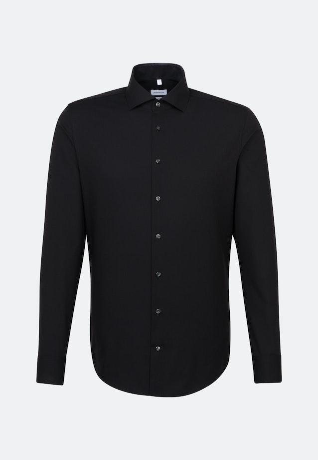 Bügelfreies Fil a fil Business Hemd in Slim mit Kentkragen in Schwarz |  Seidensticker Onlineshop