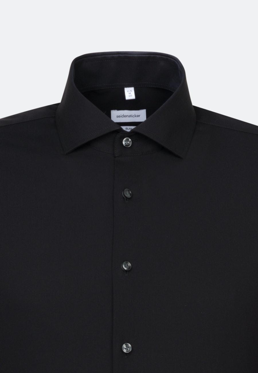 Non-iron Fil a fil Business Shirt in Slim with Kent-Collar in Black |  Seidensticker Onlineshop