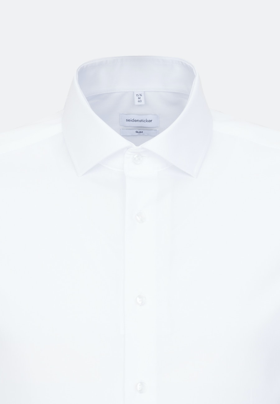 Bügelfreies Fil a fil Business Hemd in Slim mit Kentkragen in Weiß |  Seidensticker Onlineshop