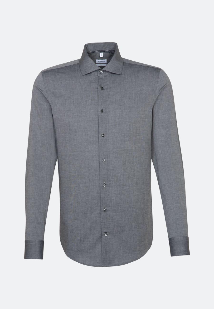 Non-iron Fil a fil Business Shirt in Slim with Kent-Collar in Grey    Seidensticker Onlineshop