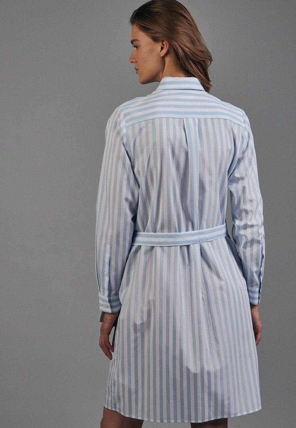 Popeline Midi Dress made of 100% Cotton in Light blue |  Seidensticker Onlineshop