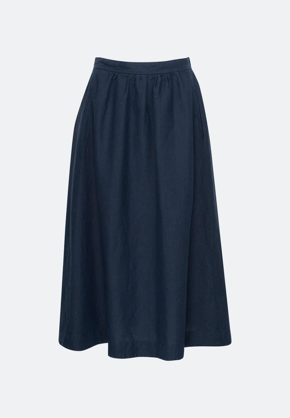 Leinen Midi Skirt made of 100% Linen in Dark blue |  Seidensticker Onlineshop