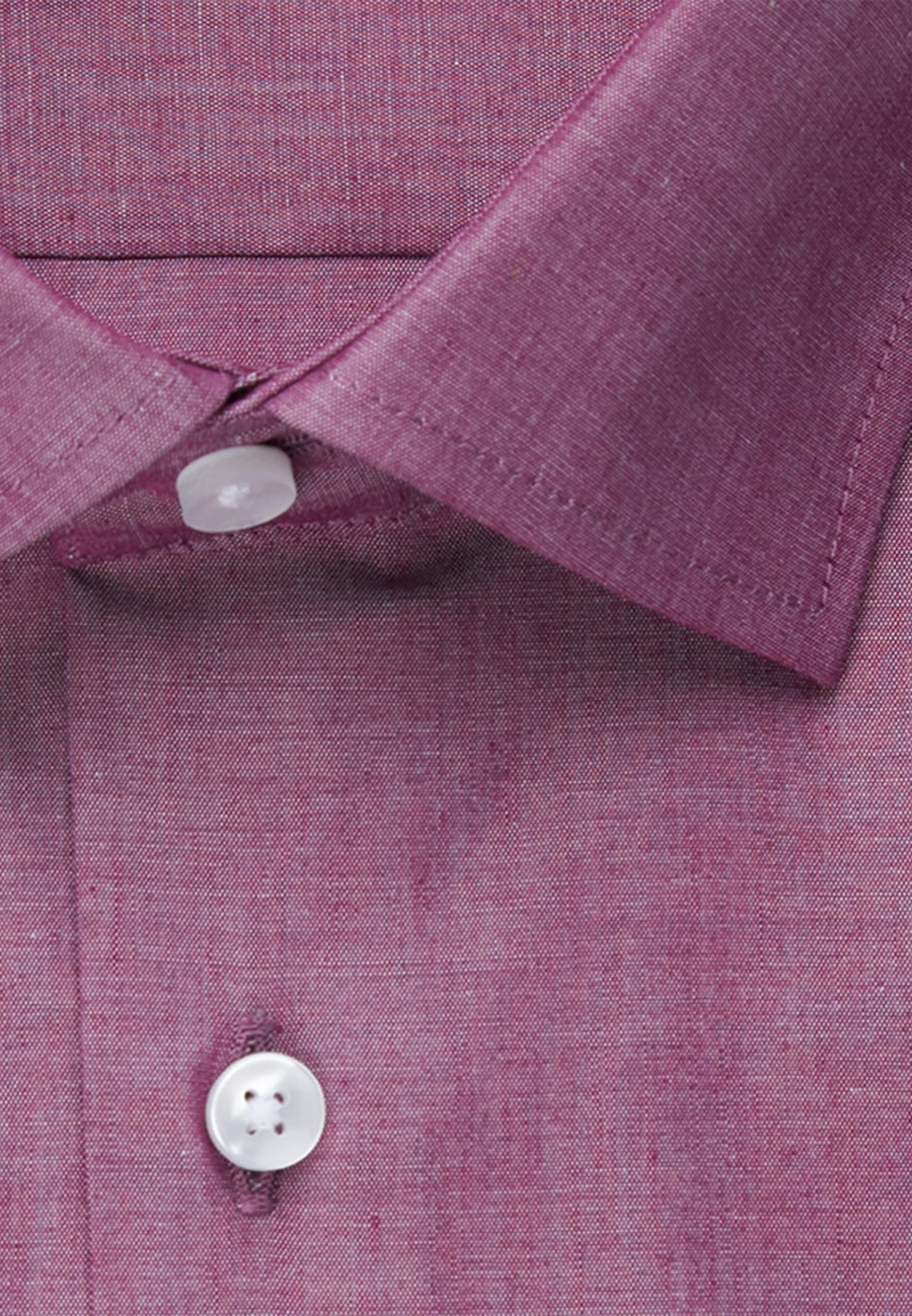 Bügelfreies Chambray Business Hemd in Shaped mit Kentkragen in Rosa/Pink |  Seidensticker Onlineshop