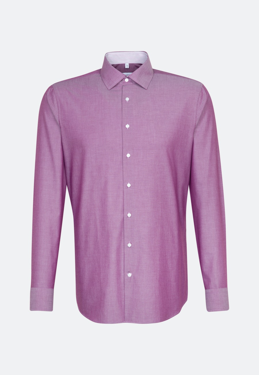 Bügelfreies Chambray Business Hemd in Shaped mit Kentkragen in Rosa/Pink |  Seidensticker Onlineshop