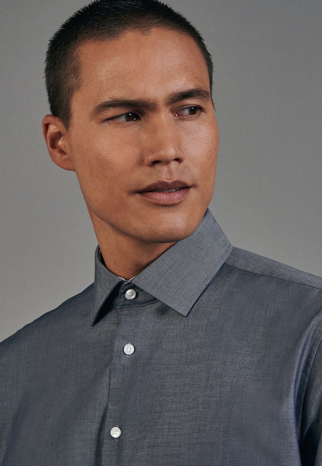 Non-iron Chambray Business Shirt in Shaped with Kent-Collar in Dark blue    Seidensticker Onlineshop