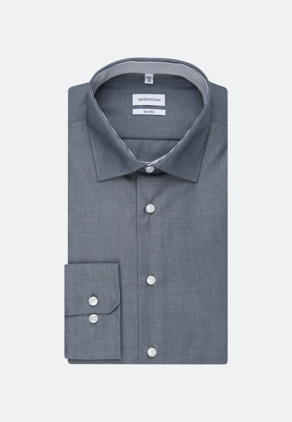 Non-iron Chambray Business Shirt in Shaped with Kent-Collar in Dark blue |  Seidensticker Onlineshop