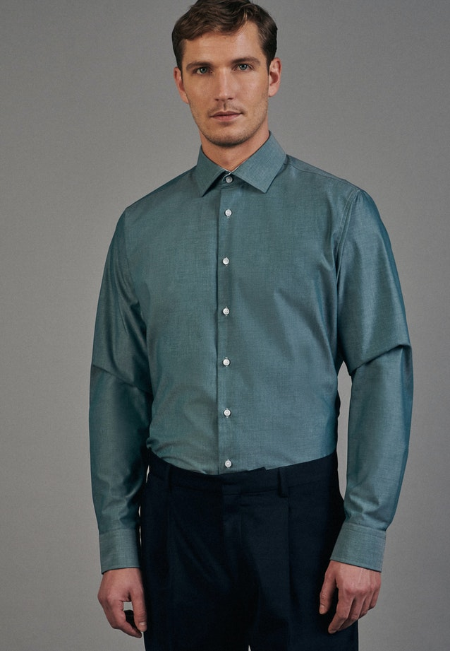 Non-iron Chambray Business Shirt in Shaped with Kent-Collar in Green    Seidensticker Onlineshop