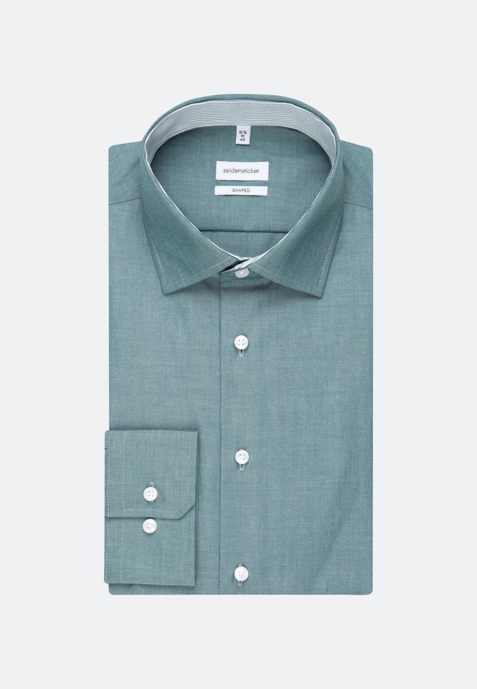 Bügelfreies Chambray Business Hemd in Shaped mit Kentkragen in Grün |  Seidensticker Onlineshop