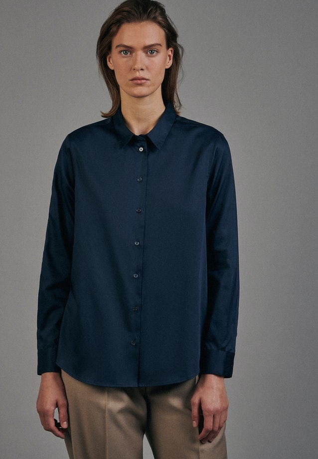 Satin Shirt Blouse made of 100% Cotton in Dark blue |  Seidensticker Onlineshop