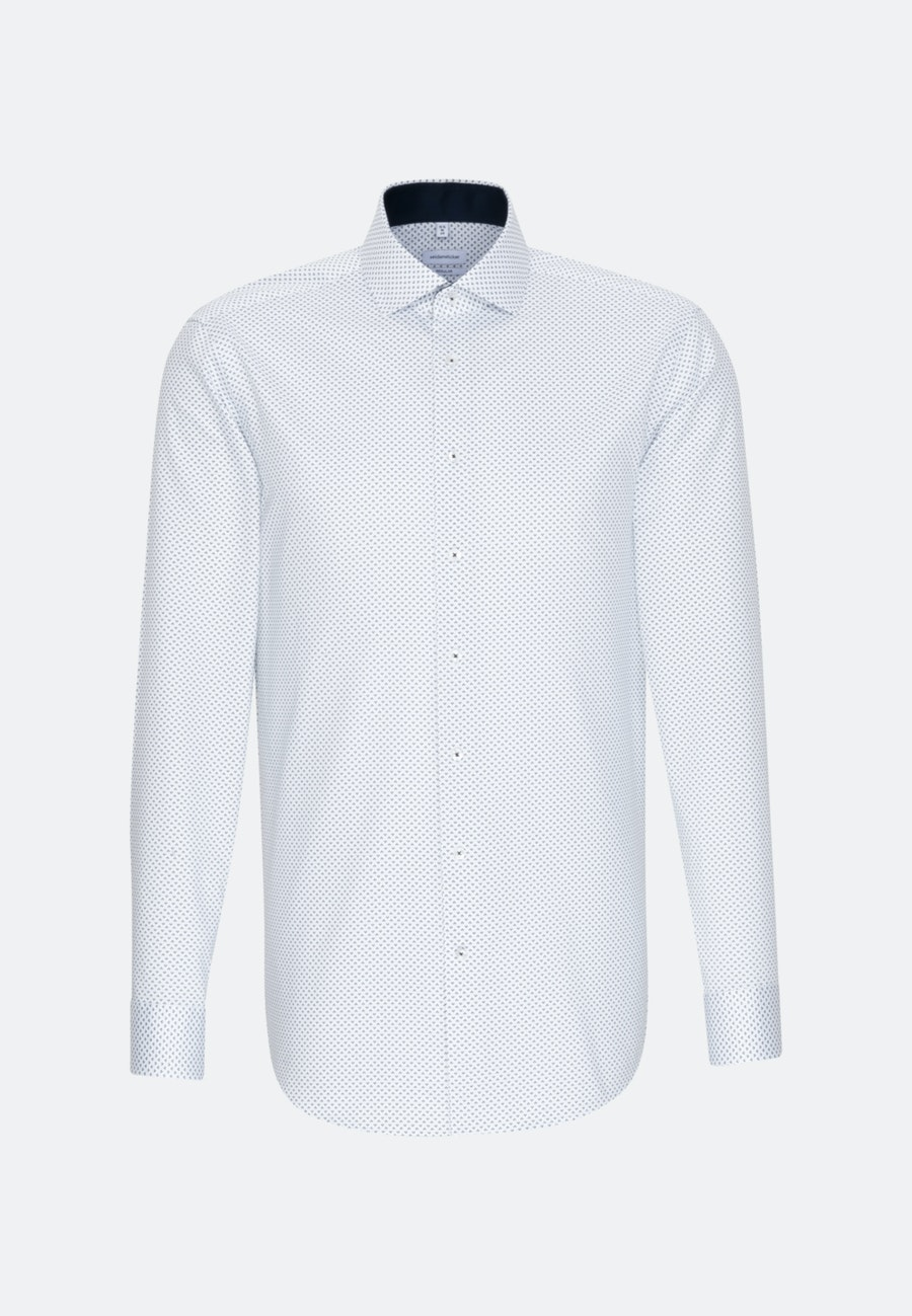 Bügelleichtes Twill Business Hemd in Regular mit Kentkragen in Dunkelblau |  Seidensticker Onlineshop
