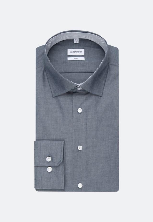 Non-iron Chambray Business Shirt in Slim with Kent-Collar in Dark blue    Seidensticker Onlineshop