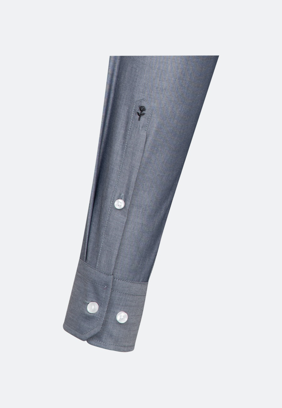Bügelfreies Chambray Business Hemd in Slim mit Kentkragen in Dunkelblau |  Seidensticker Onlineshop