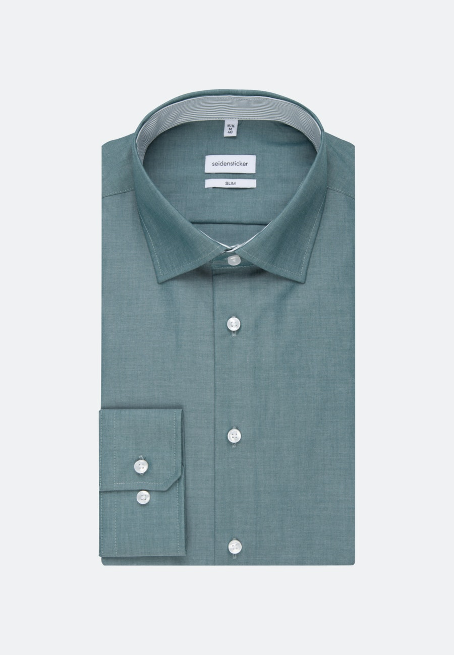 Bügelfreies Chambray Business Hemd in Slim mit Kentkragen in Grün    Seidensticker Onlineshop