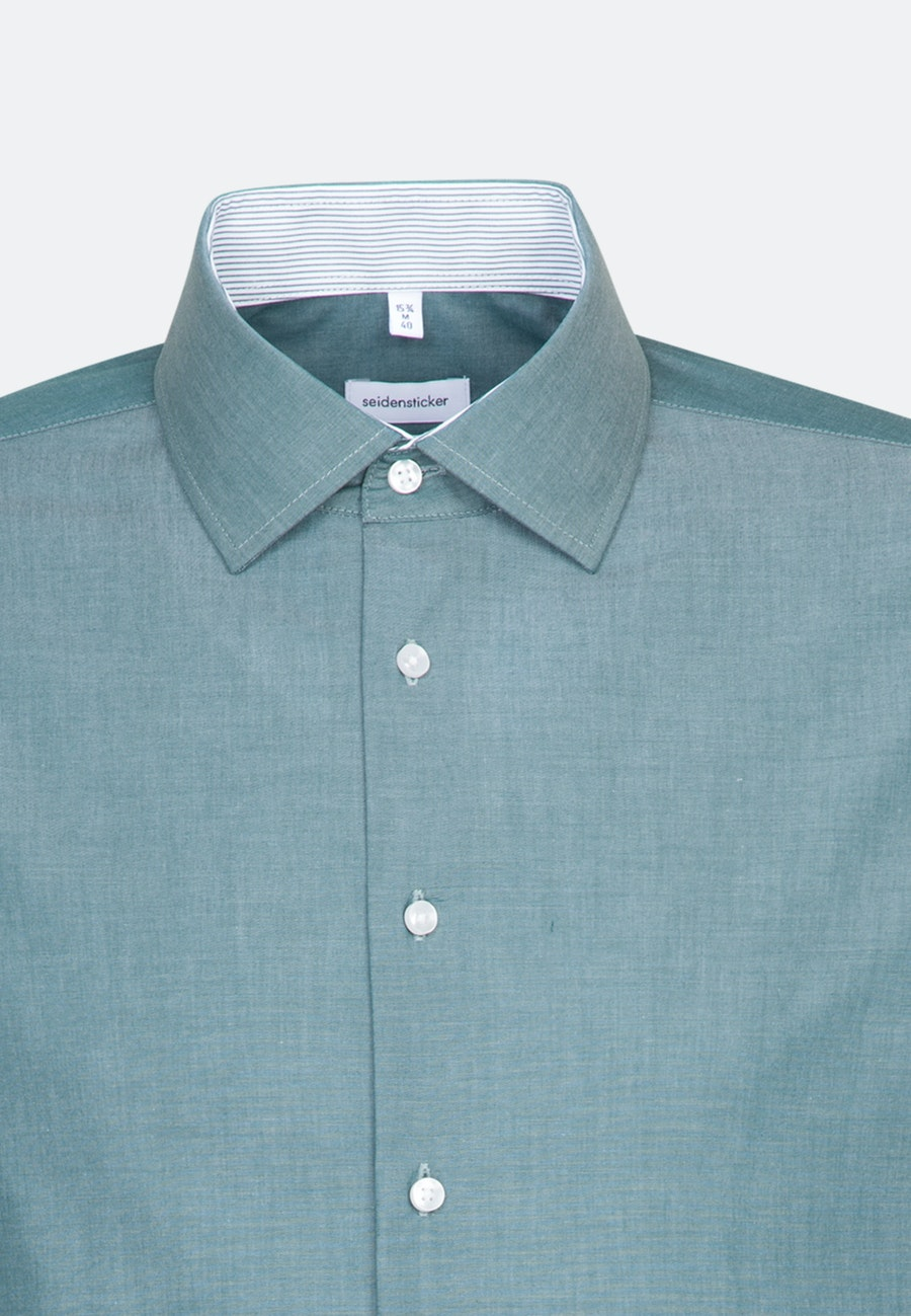 Non-iron Chambray Business Shirt in Slim with Kent-Collar in Green |  Seidensticker Onlineshop
