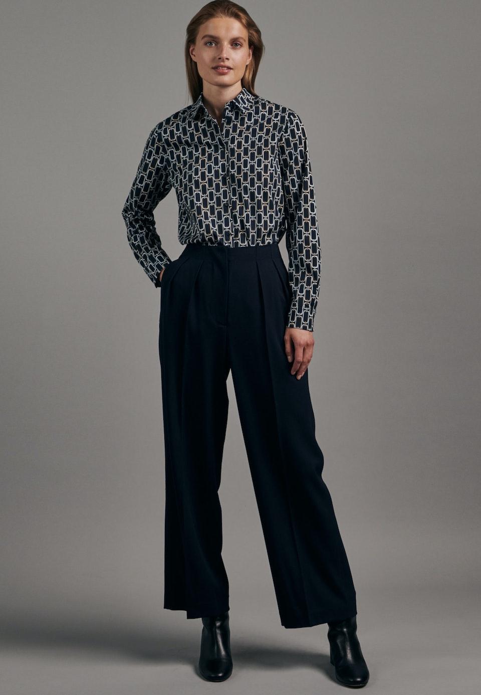 Popeline Hemdbluse aus Baumwollmischung in Dunkelblau    Seidensticker Onlineshop