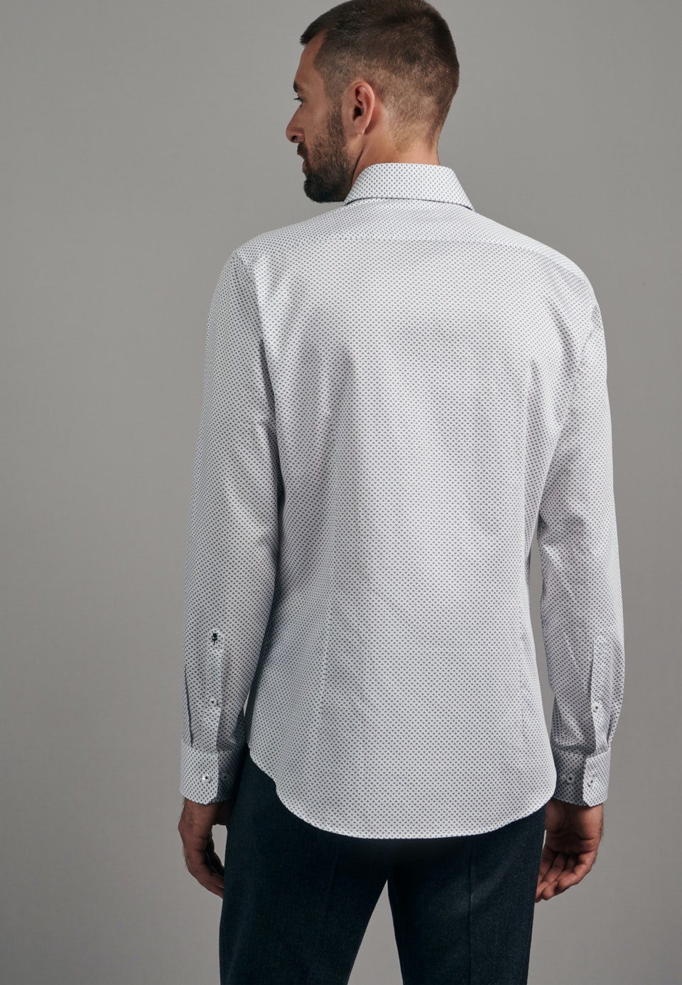 Easy-iron Twill Business Shirt in Slim with Kent-Collar in Dark blue    Seidensticker Onlineshop